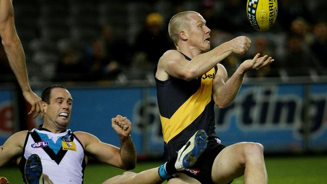 Jack Riewoldt notched 22 disposals. Picture: Colleen Petch