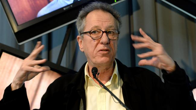 Geoffrey Rush at the opening of a new exhibition of his costumes, photos, film and personal items.