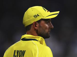 SHARJAH, UNITED ARAB EMIRATES - OCTOBER 07: Nathan Lyon of Australia looks on during the first match of the one day international series between Australia and Pakistan at Sharjah Cricket Stadium on October 7, 2014 in Sharjah, United Arab Emirates. (Photo by Francois Nel/Getty Images)