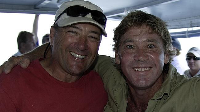 The final photograph of Steve Irwin, pictured with diver Pete West, the evening before his death.