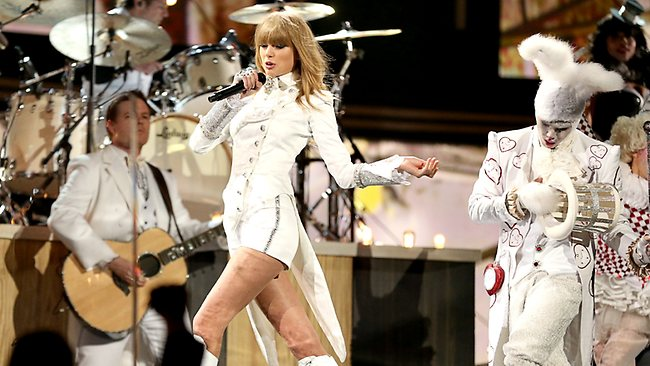 Taylor Swift performs at the Staples Center.