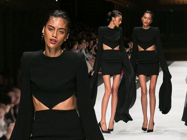 A model wearing Alex Perry walks the runway during an event for 'premium' designers at VAMFF.