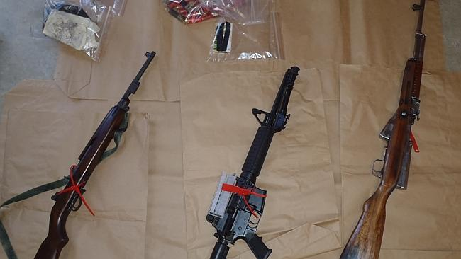 Weapons and drugs were found in police raids on a storage unit in Maddington and a house in Wattle Grove.