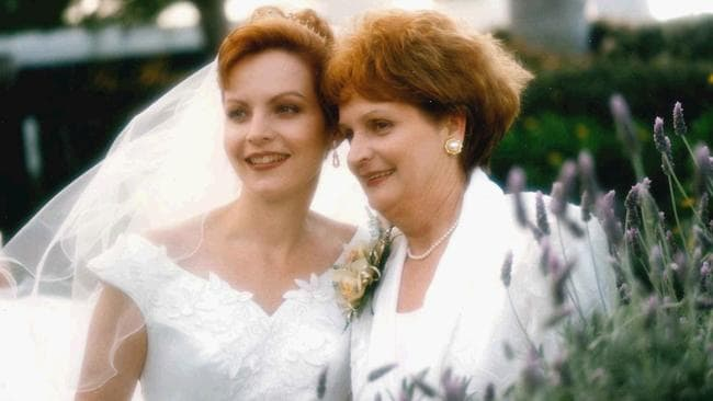 Heartbreak ahead ... Allison Baden-Clay on her wedding day, with mother Priscilla Dickie. Picture: Supplied