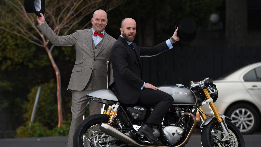 Brothers Scott and Mark Brown took part in the Distinguished Gentlemen's motorbike ride on Sunday for Movember. Picture: David Smith