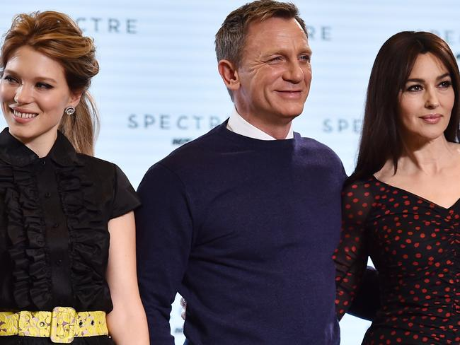 Bond girls ... French actress Lea Seydoux, left, and Italian actress Monica Bellucci are announced as co-stars for Spectre in London on December 4. Picture: AFP