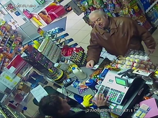 Former Russian spy Sergei Skripal shops at a store in Salisbury, England, before he fell ill. Picture: ITN via AP