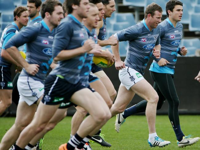 Steve Johnson in full stride at training on Wednesday. Picture: Colleen Petch.