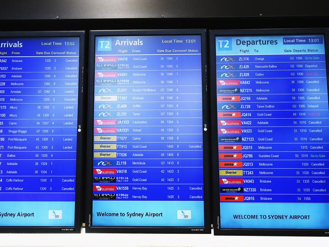 The arrivals and departures board.