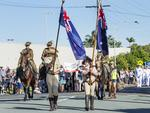 Marching at the Caloundra Anzac Day Parade. Picture: Lachie Millard