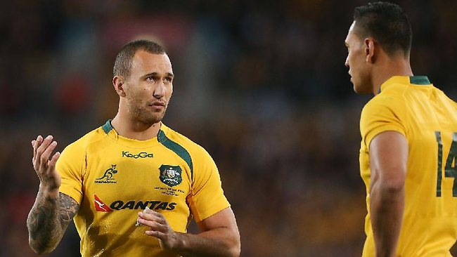 Quade Cooper and Israel Folau during the Sydney Bledisloe Cup Test.