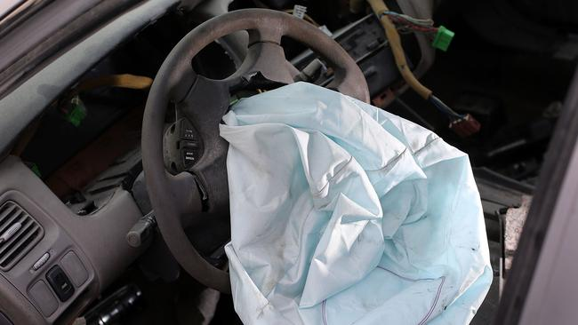 A deployed Takata airbag in a US version of the Toyota Camry. Picture: Joe Raedle/Getty Images/AFP.