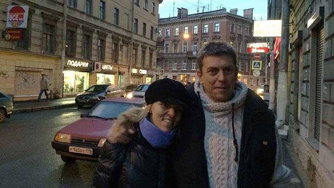 Greenpeace activist Jon Beauchamp and wife Tania Purtle on the streets of St Petersburg.