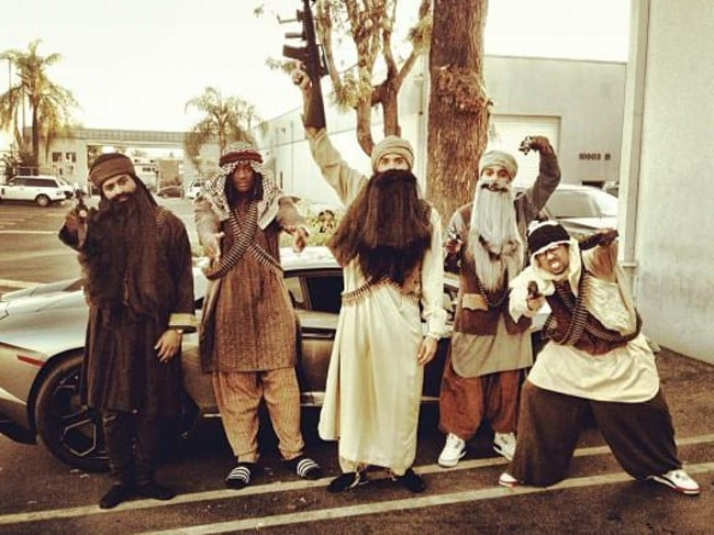 Chris Brown and friends dressed as terrorists.
