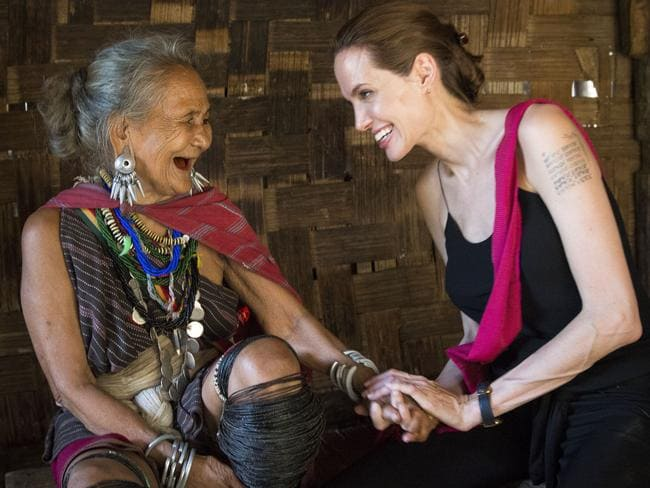 Humanitarian ... Angelina Jolie visits ethnic Karenni refugee Baw Meh, age 75, and her family from Myanmar in Ban Mai Nai Soi refugee camp near the Thai-Myanmar border. Picture: UNHCR/R. Arnold