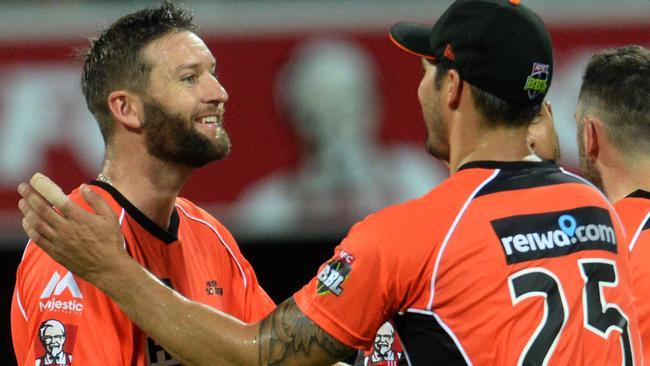 Andrew Tye celebrates a wicket during the Big Bash League.