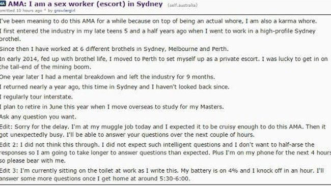 The sex worker revealed all on Reddit.
