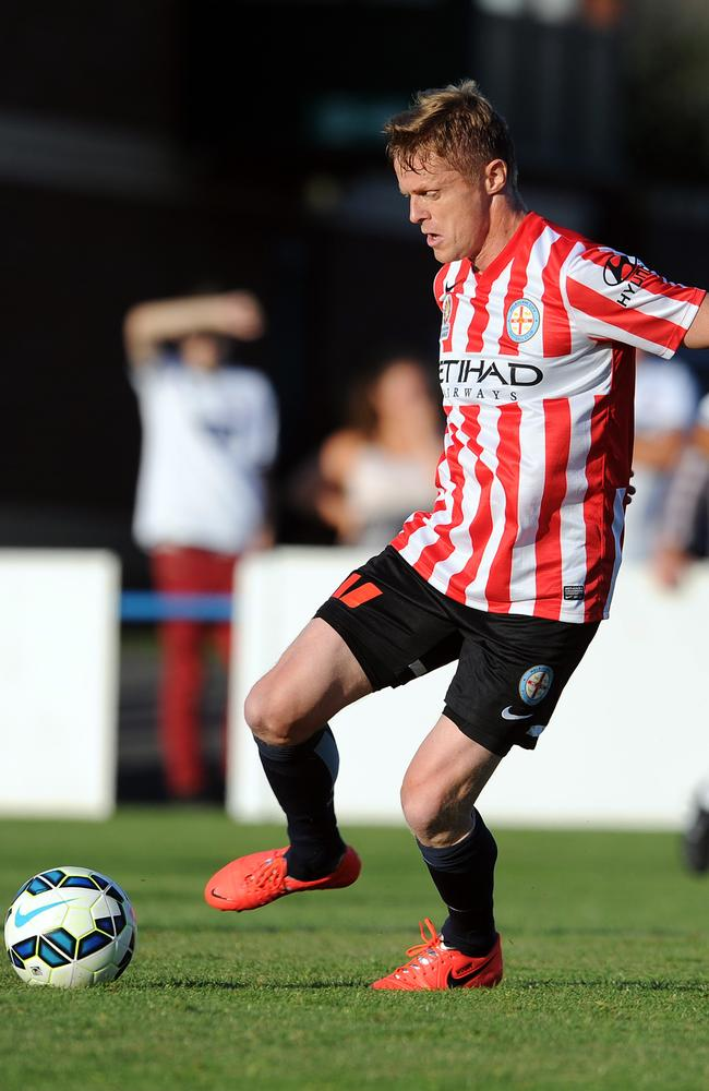 Midfielder Damien Duff in action for Melbourne City during ta friendly against Bolton Wanderers XI.