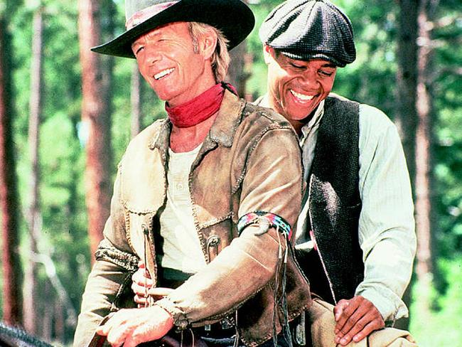 Aussie western ... Paul Hogan with Cuba Gooding Jnr in scene from film Lightning Jack. Picture: Supplied