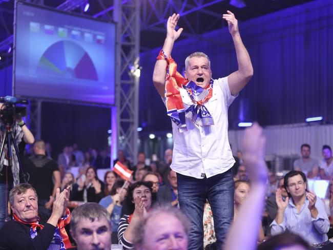 Supporters of the right-wing Austria Freedom Party (FPOe) react to initial results. Picture: Getty