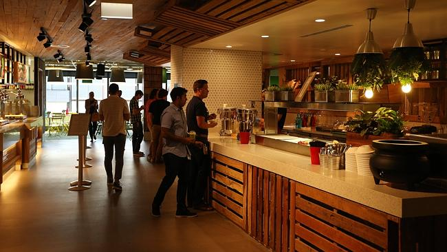 Food brings the Googlers together at one of the office's three cafes.