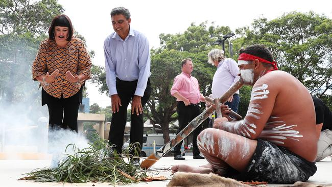 Raelene Castle with Gary Ella at a welcome to country ceremony outside ARU headquarters. Picture: Brett Costello