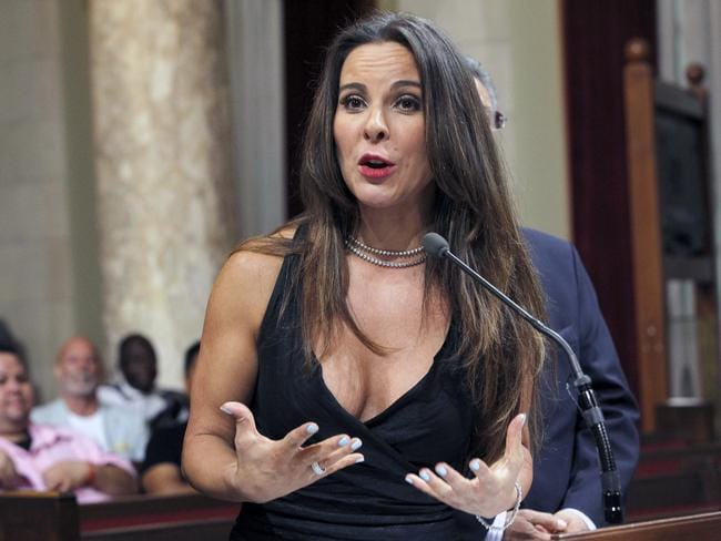 "Actress Kate Del Castillo speaks during a news conference in City Council chambers in Los Angeles. Castillo breaks months of silence about her and Sean Penn's controversial meeting with then-fugitive drug lord Joaquin ""El Chapo"" Guzman. Picture: AP"