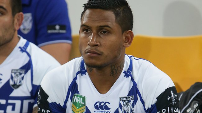 Ben Barba sits on the bench against the Broncos. Picture: Peter Wallis