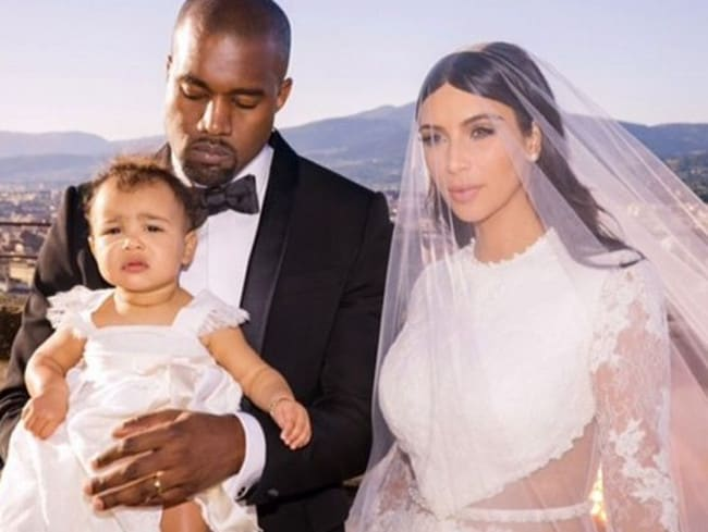 Kim Kardashian, husband Kanye West and daughter North.