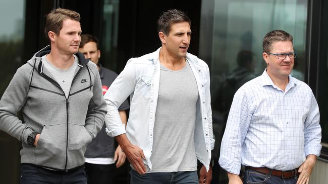 AFLPA board member Patrick Dangerfield, president Matthew Pavlich and CEO Paul Marsh. Picture: Alison Wynd
