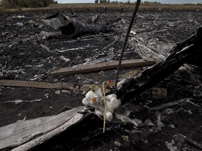 Bodies still on the ground ... A toy bear is placed on charred plane fuselage parts, as people walk through the crash site of Malaysia Airlines Flight 17 near the village of Hrabove, Ukraine. Picture: AP
