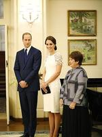 Prince William, Duke of Cambridge, Catherine, Duchess of Cambridge and Lynne Cosgrove listen to an address by the Governor General Peter Cosgrove. Picture: Getty