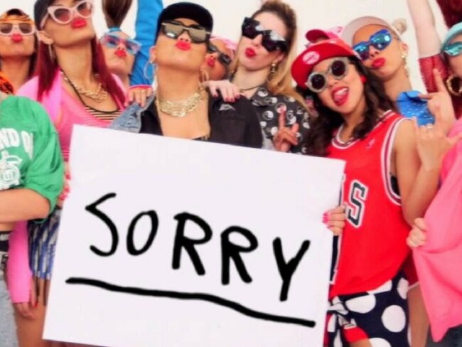 Even Justin Bieber has gotten into the sorry game. Image: Justin Bieber/Vevo