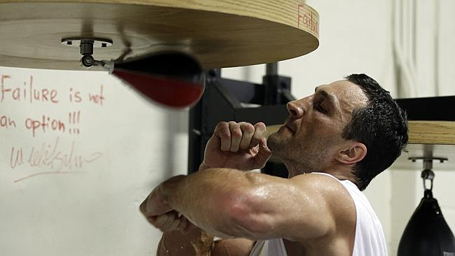 World heavyweight champion Wladimir Klitschko training ahead of his title fight with Australia's Alex Leapai. Picture: AP