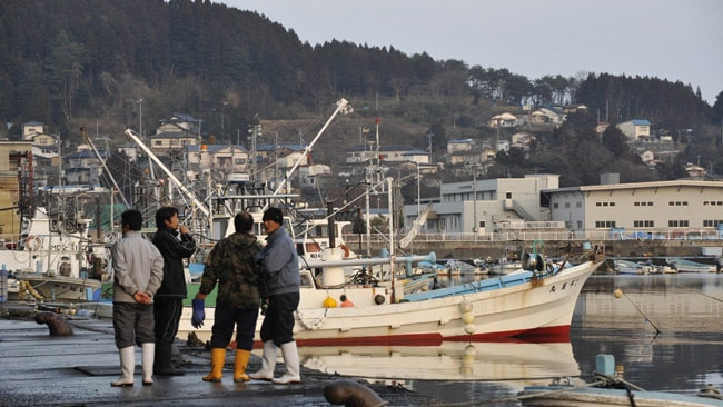 Local fisherman by the port in Minami Sanriku, February 28, 2010. AFP