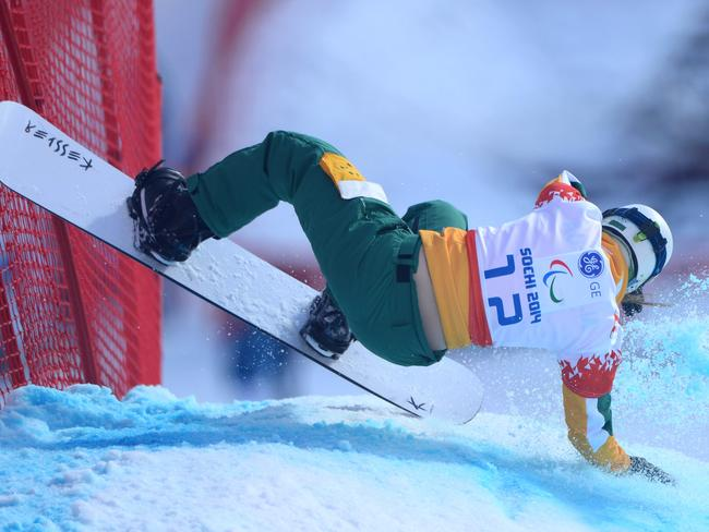 Joany Badenhorst crashing during the first official training session of the last Winter Paralympics in Sochi.