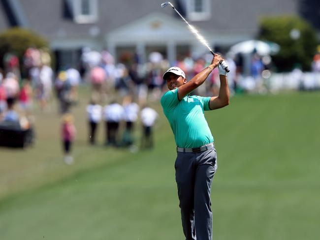 Jason Day hits an approach shot on the first hole of the 2015 Masters Tournament. Picture: David Cannon/Getty Images/AFP