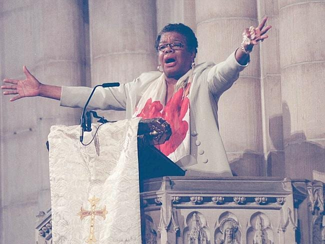 Maya Angelou speaks during a memorial service for Betty Shabazz at Riverside Church in th