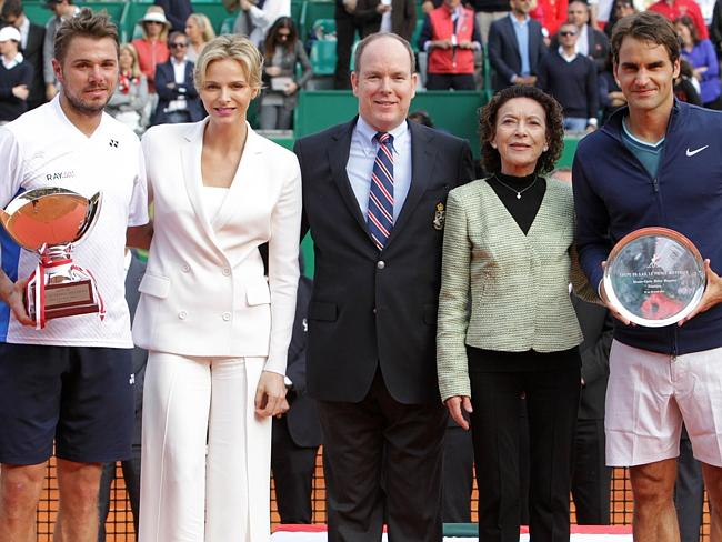 Wawrinka wins ... (From L) Switzerland's Stanislas Wawrinka, Princess Charlene of Monaco, Prince's Albert II of Monaco, Elisabeth Anne De Massy and Switzerland's Roger Federer.