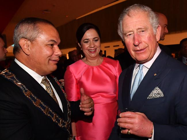 Prince Charles (right) with Gold Coast Mayor Tom Tate (left) and Queensland Premier Annastacia Palaszczuk. Picture: Darren England
