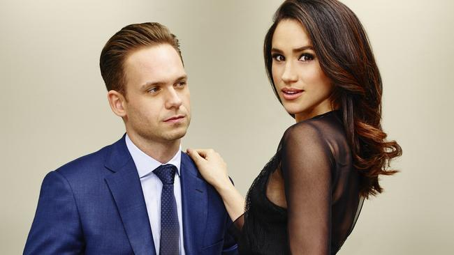 Meghan Markle with Patrick J Adams in Suits. Picture: Supplied/NBCUniversal.