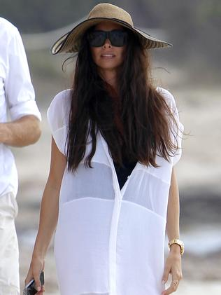 Beach chic ... a relaxed Erica Packer photographed in Spain earlier this month. Picture: Splash News