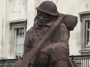 A MUD soldier sculpture has been unveiled in London today to commentate the centenary of the battle of Passchendaele, where thousands of Australian soldiers lost their lives in the deadliest battle of the First World War.