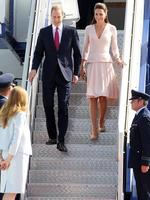 The Duke and Duchess of Cambridge arrive at the Edinburgh RAAF Base in northern Adelaide. Picture: Calum Robertson
