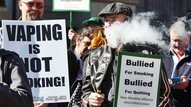 Victoria's vaping protests a government bill that would place e-cigarettes in the same category as normal cigarettes. Picture: Aaron Francis/The Australian
