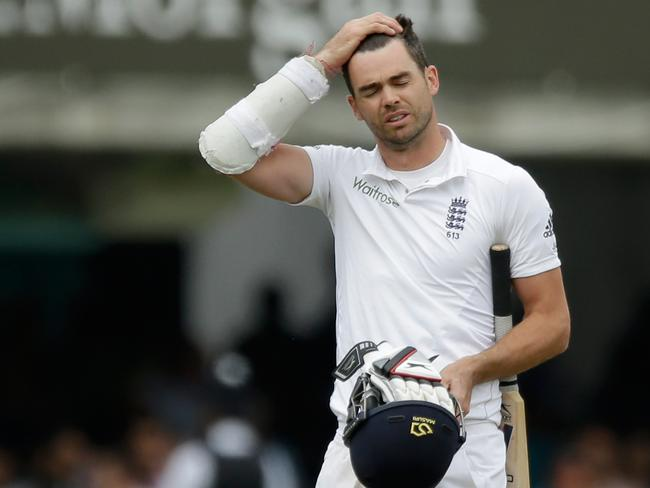 England's James Anderson leaves the field of play after being run out by Jadeja during the second test at Lord's. Picture: Matt Dunham