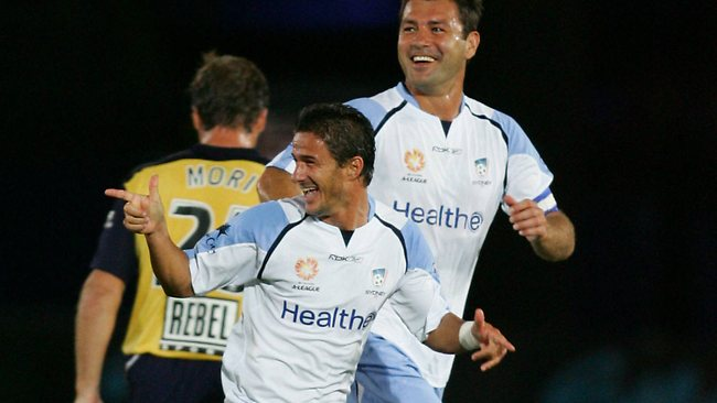 Benito Carbone celebrates on of his two goals for Sydney FC. Picture: Mark Evans