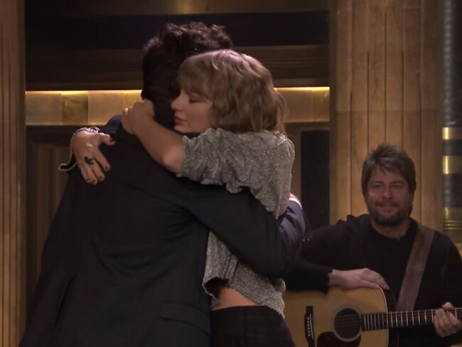 Taylor Swift hugged host Jimmy Fallon as she appeared on The Tonight Show. Photo: Supplied