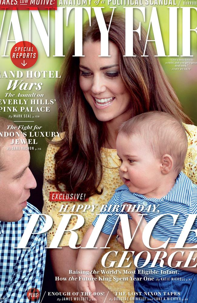 Cute family ... Prince George and his parents are the cover stars of Vanity Fair's August edition.