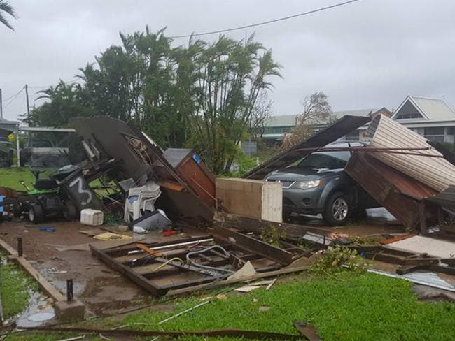Proserpine resident Rachel Harm woke up to find her neighbour's shed in her backyard. Picture: Rachel Harm/Facebook